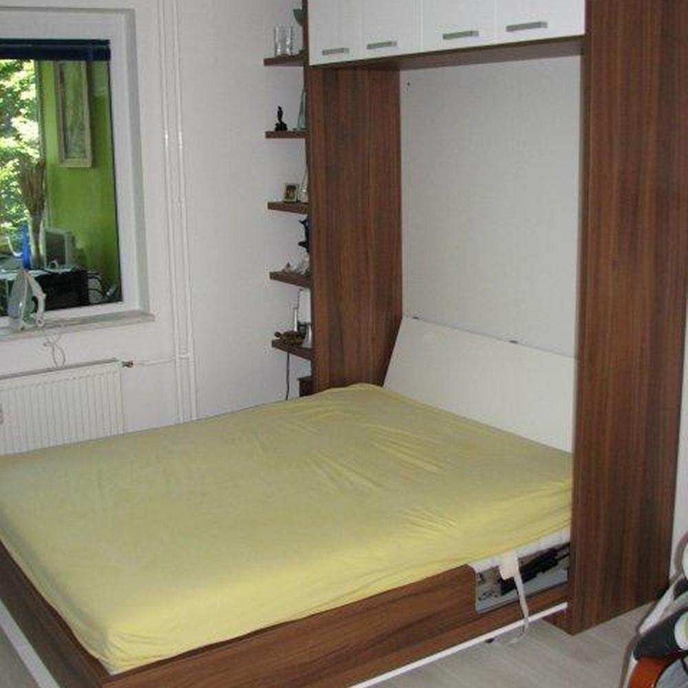 dvižna skrita postelja, kombinacija visokega sijaja in iverala